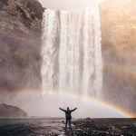 waterfalls, rainbow, man
