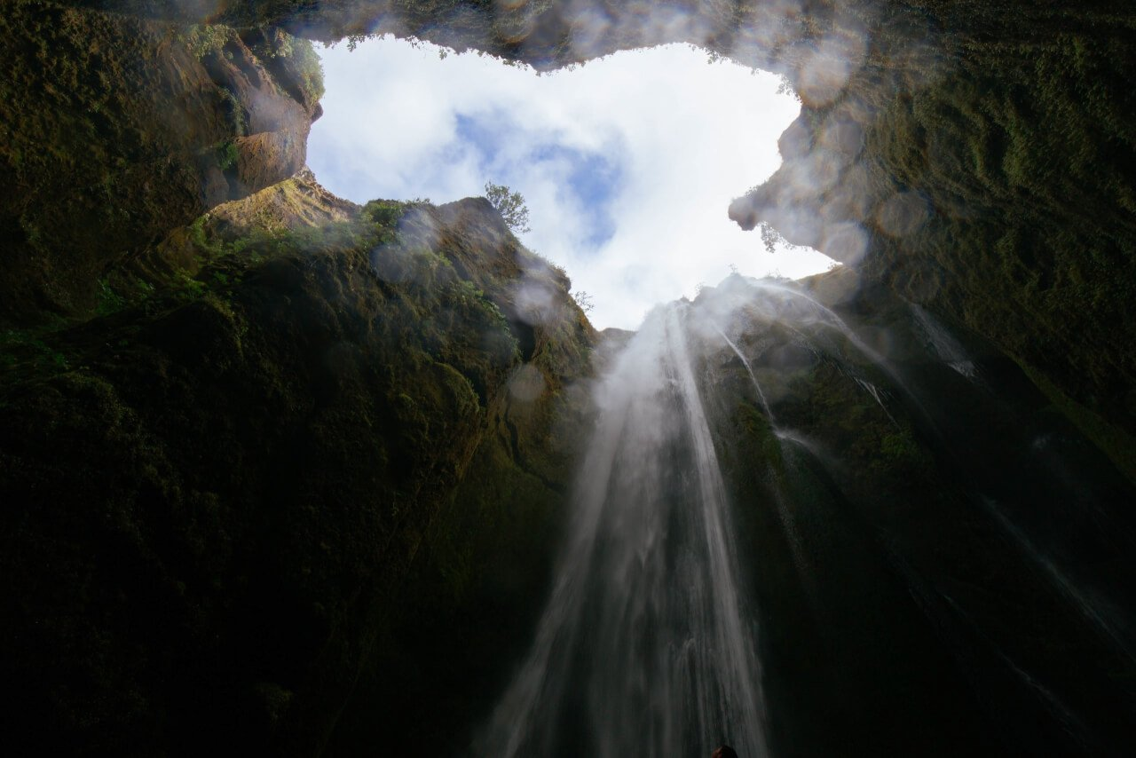cave, pit, waterfall